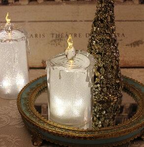 クリスマス置物 (アクリルライトキャンドルS LED8093)アンティーク風 シャビーシック 北欧 フレンチ ロマンティック 可愛い クリスマス飾り