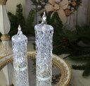クリスマス置物 (アクリルダイヤモンドキャンドルM LED6741)アンティーク風 シャビーシック 北欧 フレンチ ロマンティック 可愛い クリスマス飾り