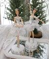 スタイルロココ クリスマス置物 (ホワイトバレリーナA・B 置物)アンティーク風 シャビーシック 北欧 フレンチ ロマンティック 可愛い クリスマス飾り