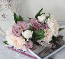 可愛い 造花 ピンク ピオニーブーケ シルクフラワー アーティフィシャルフラワー 芍薬 花束 造花 アンティーク アンティーク風 シャビーシック おしゃれ かわいい インテリア 雑貨