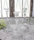 アンティーク風なガラス製 キャンドルホルダー(クリア・透明)キャンドルスタンド ポルトガル製 おしゃれ シャビーシック 燭台