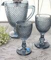 スタイルロココ アンティーク風なガラス食器 ワイングラスS(ダイヤ柄・ブルーグレー) ガラス グラス コップ ポルトガル製 おしゃれ シャビーシック