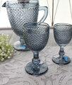 スタイルロココ アンティーク風なガラス食器 ワイングラスM(ダイヤ柄・ブルーグレー) ガラス グラス コップ ポルトガル製 おしゃれ シャビーシック