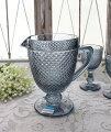 スタイルロココ アンティーク風なガラス食器 ピッチャー(ダイヤ柄・ブルーグレー) ガラス 水差し ジャグ ポルトガル製 おしゃれ シャビーシック