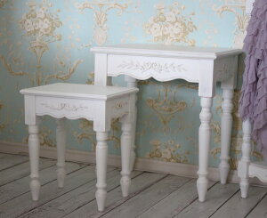 【CountryCorner】ROMANCEコレクションネストテーブル2個セット白家具フランスカントリーコーナー送料無料