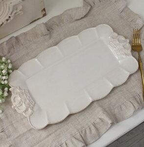 フレンチカントリーな王冠モチーフシリーズ【ロイヤルクラウン・ケーキプレート・スクエア】ケーキ皿フレンチ食器フランスアンティーク風陶器白い食器