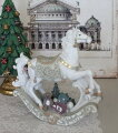スタイルロココ LED ホワイト ロッキングホース オブジェ 木馬 8534 クリスマス 飾り 置物 オブジェ ヨーロピアン アンティーク風 アンティーク 雑貨 姫系 輸入雑貨 シャビーシック 可愛い