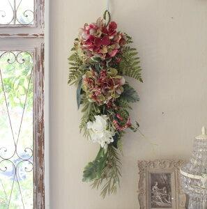 フラワーデコ・アジサイ ボルドー(8395) 造花 壁掛け 紫陽花 スワッグ シルクフラワー アーティフィシャルフラワー ウォールデコ 壁飾り