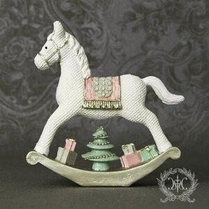 X'mas♪♪ホースデコ・ミニ木馬の置物オブジェクリスマスディスプレイシャビーシックフレンチカントリーアンティーク雑貨輸入雑貨antiqueshabbychic