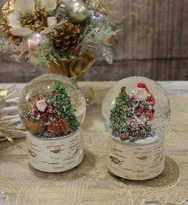 X'mas♪♪スノードームオルゴール(白樺型・おめでとうクリスマス)スノードームオブジェクリスマスディスプレイシャビーシックフレンチカントリーアンティーク雑貨輸入雑貨antiqueshabbychic