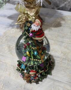 X'mas♪♪スノードーム・クライミングサンタ(オルゴール・おめでとうクリスマス)スノードームオブジェクリスマスディスプレイシャビーシックフレンチカントリーアンティーク雑貨輸入雑貨antiqueshabbychic