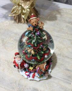 X'mas♪♪スノードーム・ベアー&サンタ(オルゴール・おめでとうクリスマス)スノードームオブジェクリスマスディスプレイシャビーシックフレンチカントリーアンティーク雑貨輸入雑貨antiqueshabbychic