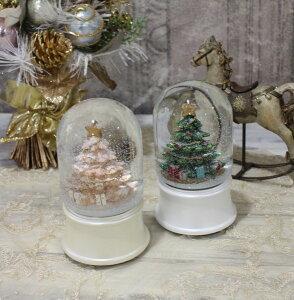 X'mas♪♪スノードーム・ツリートール(オルゴール・おめでとうクリスマス)スノードームオブジェクリスマスディスプレイシャビーシックフレンチカントリーアンティーク雑貨輸入雑貨antiqueshabbychic