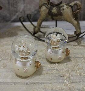 X'mas♪♪ミニスノードーム・ピンクサンタ(2種あり)スノードームオブジェクリスマスディスプレイシャビーシックフレンチカントリーアンティーク雑貨輸入雑貨antiqueshabbychic