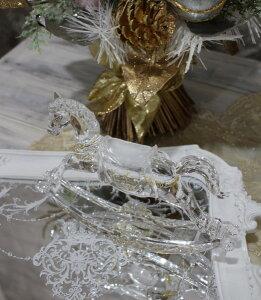 X'mas♪♪アクリルホース(木馬の置物)オブジェクリスマスディスプレイシャビーシックフレンチカントリーアンティーク雑貨輸入雑貨antiqueshabbychic