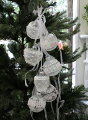 スタイルロココ X'mas♪♪ ホワイトグラス&リボン(オーナメントボール) オブジェ クリスマス ディスプレイ シャビーシック フレンチカントリー アンティーク 雑貨 輸入雑貨 antique shabby chic