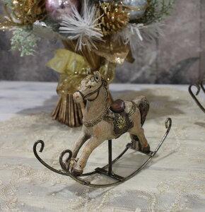X'mas♪♪アンティークカラーのロッキングホースSオブジェクリスマスディスプレイシャビーシックフレンチカントリーアンティーク雑貨輸入雑貨antiqueshabbychic