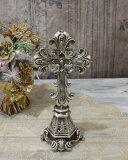 アンティークシルバーのクロスデコL 十字架 オブジェ クリスマス ディスプレイ シャビーシック フレンチカントリー アンティーク 雑貨 輸入雑貨