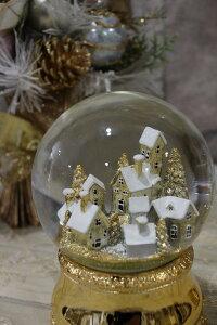 X'mas♪♪スノードーム・ゴールドショート(オルゴール付き・星に願いを)スノードームオブジェクリスマスディスプレイシャビーシックフレンチカントリーアンティーク雑貨輸入雑貨antiqueshabbychic