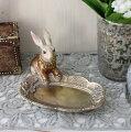 スタイルロココ バロックラビットミニトレイ ウサギの置物 アンティーク風 雑貨 シャビーシック フレンチカントリー 輸入雑貨 アンティーク 雑貨