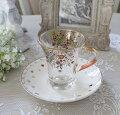スタイルロココ アンティーク風 フレンチ食器 フラワーシリーズ(フラワー1360) ガラスカップ&ソーサー フレンチ食器 フランス アンティーク調 陶器 フレンチカントリー シャビーシック antique