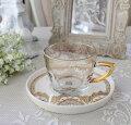 スタイルロココ アンティーク風 フレンチ食器 フラワーシリーズ(レース1359) ガラスカップ&ソーサー フレンチ食器 フランス アンティーク調 陶器 フレンチカントリー シャビーシック antique