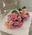 スタイルロココ ハイブリッドティローズ ブーケ9輪(パープルピンク系) 薔薇 造花 アーティフィシャルフラワー シルクフラワー インテリア