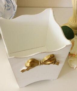 イタリア製SOLDIセンターリボンフリーボックスホワイト×ゴールドリボン小物入れや卓上ゴミ箱にも♪