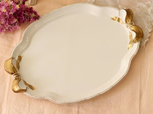 イタリア製SOLDIリボンオーバルトレー(CURVE)Lサイズ楕円ホワイト×ゴールドリボントレイ[999]