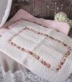 スタイルロココ 可愛いフロアマット(ホワイト・ピンク)薔薇 ローズ フロアマット 長方形 お洒落 マイクロファー
