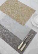 アラベスク ランチョン ホワイト ベージュ ビニール ダマスク プレースマット テーブル