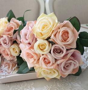 ミックスローズブーケ9輪ピンククリームパープル薔薇
