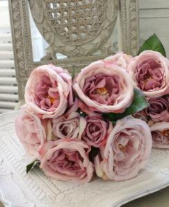 オールドローズ・パープルブーケ7輪【シルクフラワー・アーティフィシャルフラワー】紫色花束薔薇造花