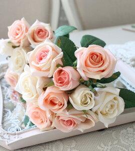 【全品ポイント14倍中】ホワイトピンクローズブーケ9輪【シルクフラワー・アーティフィシャルフラワー】ピンクパープルワイン薔薇造花