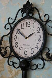 【全品ポイント14倍中】アンティーク調の掛け時計♪ラージキー・ウォールクロックアイアンクロック掛時計フレンチカントリーシャビーシック