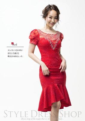 【Aliceアリス】フロントビジュー刺繍サテンミニドレス/二次会お呼ばれパーティー女子会ワンピースセレブ高級上質