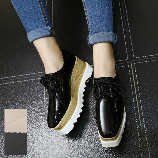 シューズ靴厚底スニーカーオックスフォードウェッジソールレースアップパンプスレディースブラックベージュ