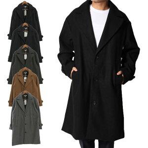 チェスターコート ビッグシルエット オーバーサイズ メルトンウール コート アウター メンズ ブラック チャコール グレー ネイビー キャメル