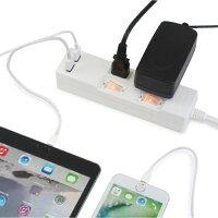 【送料無料・ランキング上位商品】STYLED(スタイルド)雷ガード機能USB充電ポート付電源タップ2ポート合計2.4A出力・コンセント2口2.0miPhone・iPad・Androidスマートフォン(スマホ)・タブレット対応コンセントタップUSBタップ延長コードホワイト