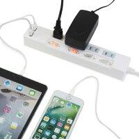 【送料無料・ランキング上位商品】STYLED(スタイルド)雷ガード機能USB充電ポート付電源タップ2ポート合計2.4A出力・コンセント4口2.0miPhone・iPad・Androidスマートフォン(スマホ)・タブレット対応コンセントタップUSBタップ延長コードホワイト