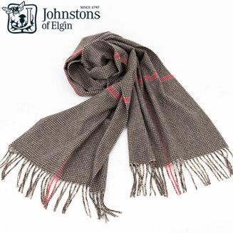 Johnstons|ジョンストンズウィンドウペンピンクカシミアマフラーストール1