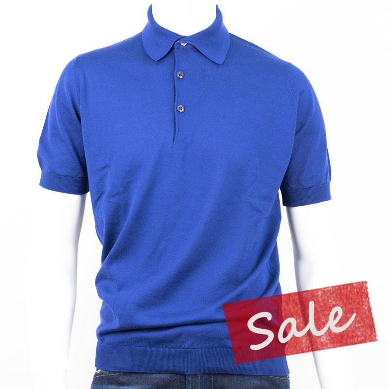 ??ジョン スメドレー 30ゲージ【S3798-SERGE BLUE】 コットン100% 半袖 ポロシャツ