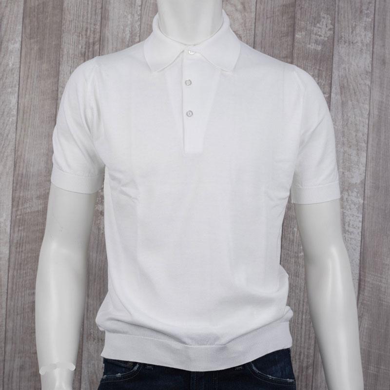 ??ジョン スメドレー 30ゲージ【S3798-WHITE】コットン100% 半袖 ポロシャツ