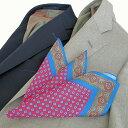 Style Edition|スタイルエディション レッド×ブルー イタリーシルク ポケット チーフ
