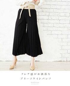 (ブラック)フレア感がお洒落なプリーツワイドパンツ3/11新作