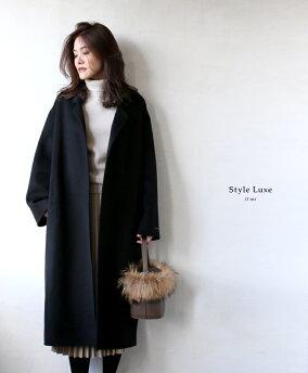 「styleluxe」リッチ感あふれる素材が魅力のオーバーサイズコートコートチェスターコートオーバーサイズブラックブラウンシンプルレディースフリーサイズstyle【F181201】