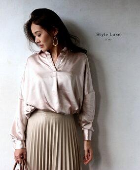 「styleluxe」リッチ感のある2wayお洒落オーバーシャツピンクシャツブラウス2wayオーバーシャツロングシャツレディースフリーサイズstyleluxe【F190112】