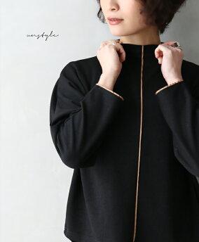 「unstyle」センターと袖口のリボンが素敵なデザイントップスブラックラインリボントップスレディースフリーサイズstyle【F190110】