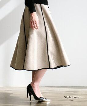 「styleluxe」保温性抜群のAラインフレアスカートスカートフレアスカートAラインフェルト保湿性モダンラインレディースフリーサイズstyleluxe【F190216】