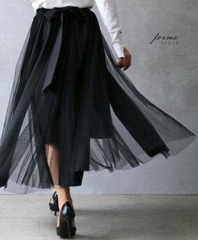 「unstyle」ふわり揺れるチュールが素敵なリボンフレアスカート/ブラック/フレアスカート/フリーサイズ/チュール/レディース/【F180719】